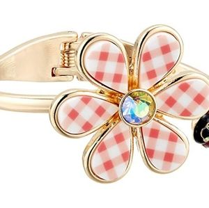 Nwt - Betsey Johnson gingham flower bangle